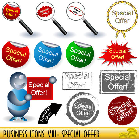 Set of business icons, special offer, along with appropriate buttons, part 8. Stock Vector - 7104255