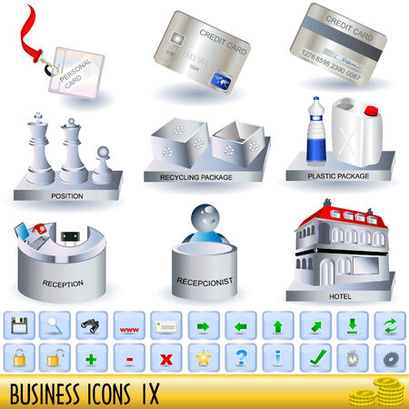 Set of business icons, along with appropriate buttons, part 9. Vector