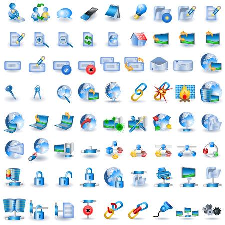 Cable network: Enorme colecci�n de iconos de red azul ligero
