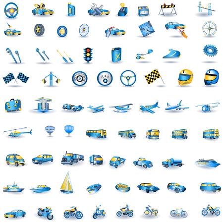 jet ski: Enorme conjunto de iconos de transporte ligero de azul.