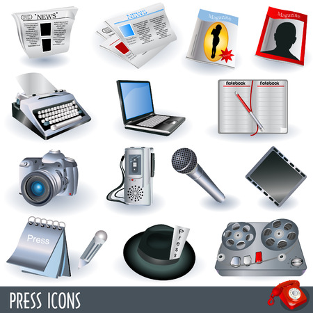 Collection of press and papers icons. Illustration