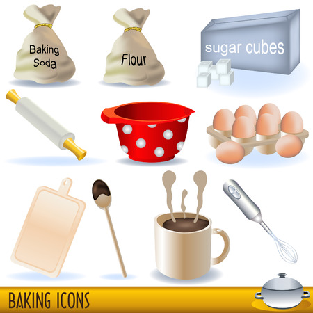 Set of colored illustration of baking icons.