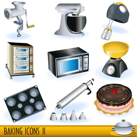bakery oven: Illustration of colored baking icons - part 2.