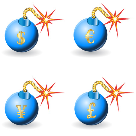 Illustration of blue bombs with four different currencies stick on them. Stock Vector - 7196839