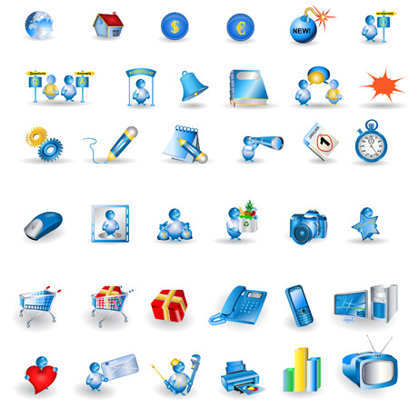 player controls: Great collection of shiny light blue portfolio icons isolated on white background. Illustration