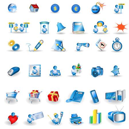 email bomb: Great collection of shiny light blue portfolio icons isolated on white background. Illustration