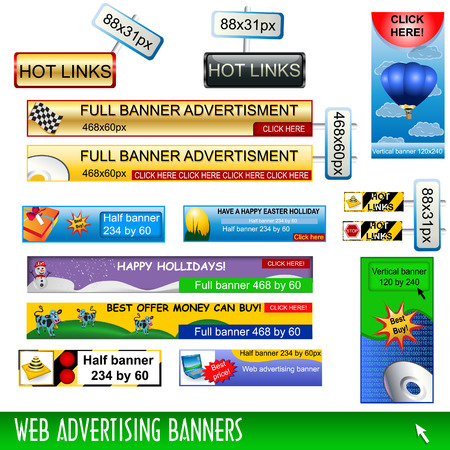 dimensions: Collection of web advertising banners, standard dimensions.