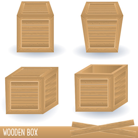 Illustration of wooden box in four different positions. Vector