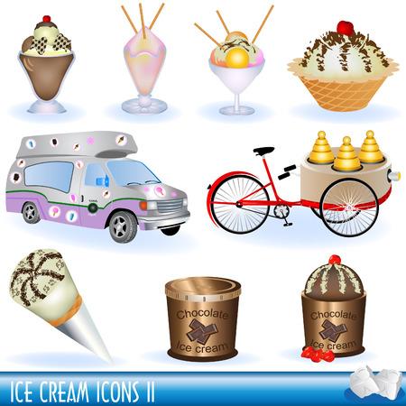 vanilla pudding: Una colecci�n de iconos de helado, parte 2  Vectores