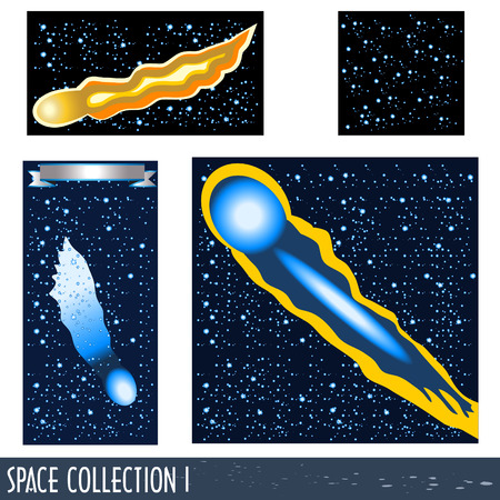 Space collection  part 1. Comet flying through the sky. Stock Vector - 7355310