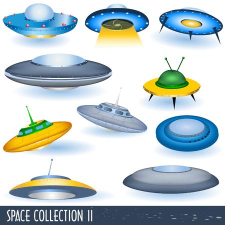 Espacio colección 2, volando platillos  Ilustración de vector