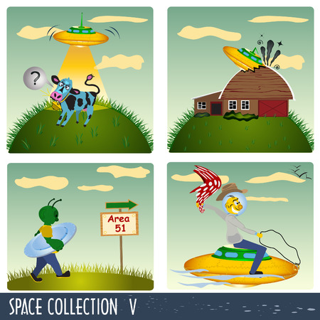 Space collection 5, aliens in different situations. Vector