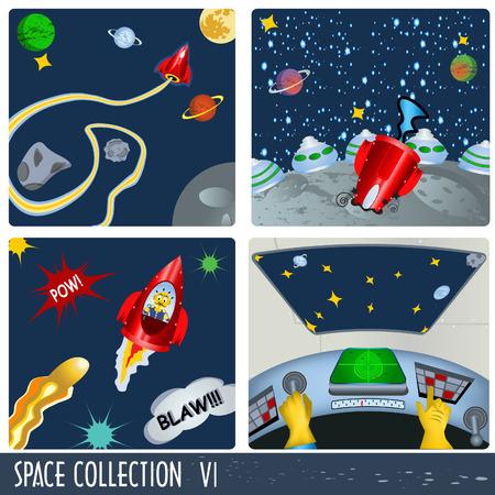 planeta tierra feliz: Colecci�n de espacio 6, astronautas en diferentes situaciones.
