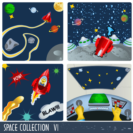 Space collection 6, astronauts in different situations. Vector