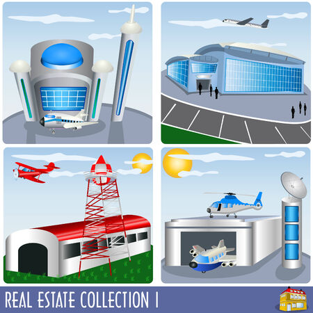 Real Estate collection 1, airport and aircraft hanger illustrations Vector