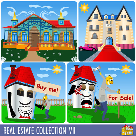 Real estate collection 7, different kind of buildings and situations. Vector