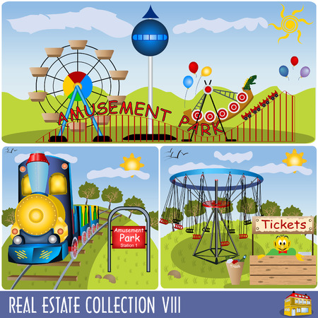 amusement: Real State collection 8, amusement park illustrations.