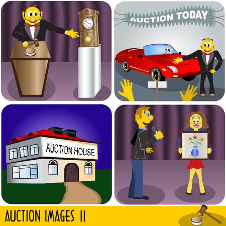 auction: Illustration of four auction images, cartoon style. Illustration