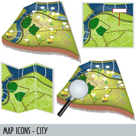 白の背景に分離された都市地図アイコンの図  イラスト・ベクター素材