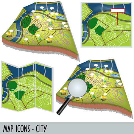 Illustration of city map icons isolated on white background