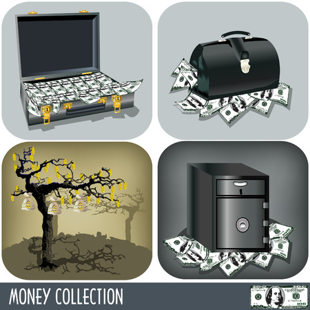 Bag of gold coins: Collection of four different illustrations, money related.