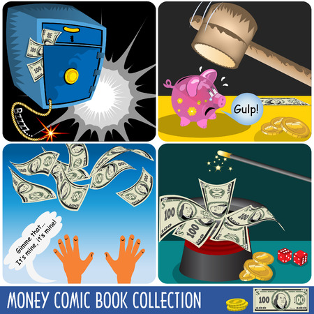 A collection of money comic book illustrations Vector