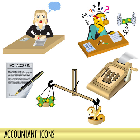 taxes budgeting: Accountant icons