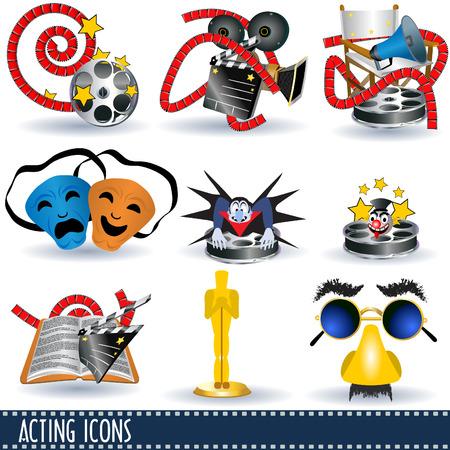 film crew: Acting icons Illustration
