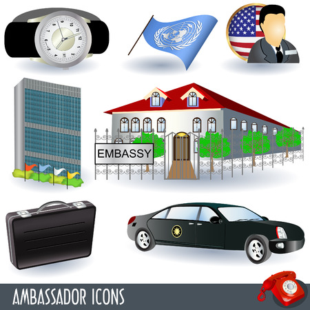 security council: A collection of ambassador icons, nine colored illustrations.