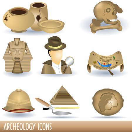 archeology: Archeology icons Illustration