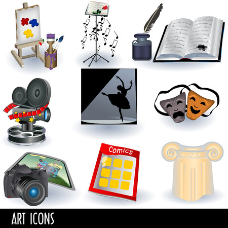 Illustration set of nine color art icons: painting, music, literature, movie, dance, acting, photography, comics and architecture.