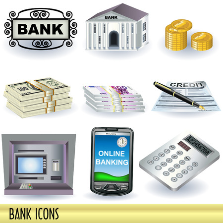 bank transfer: Collection of nine bank color icons.
