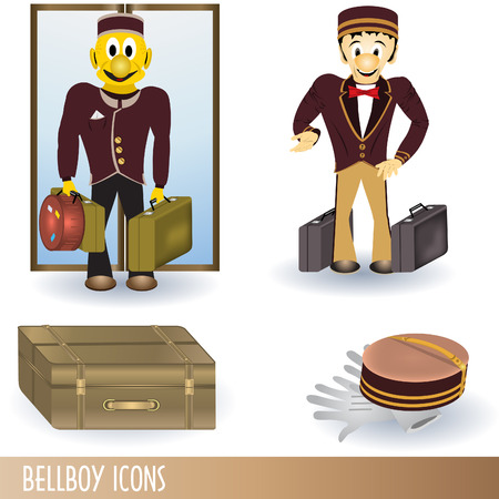 bellboy: Clip-art color collection of four bellboy icons. Illustration