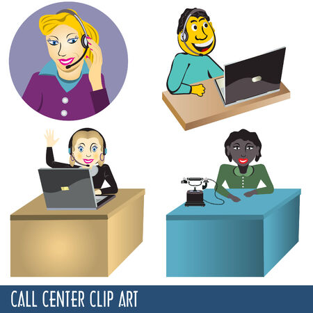 call center agent: Colecci�n de im�genes predise�adas, cuatro ilustraciones del call center  Vectores