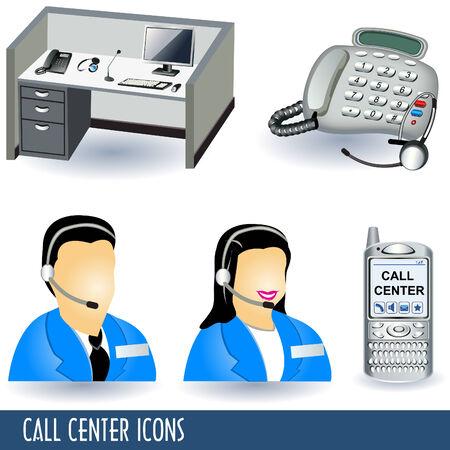 call center woman: Colecci�n de iconos de ilustraci�n de centro de llamadas cinco.  Vectores