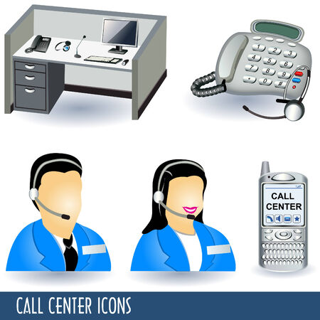 face with headset: Collection of five call center illustration icons. Illustration