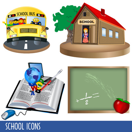 Clip-art collection of four color school icons. Vector