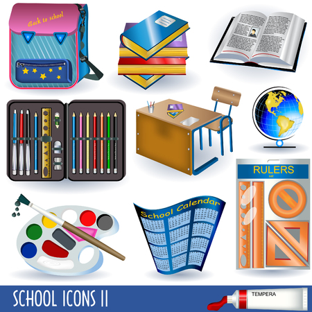 Collection of ten color school icons, part two Illustration