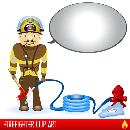 comicbook: Firefighter clip art illustration with a comic-book baloon.