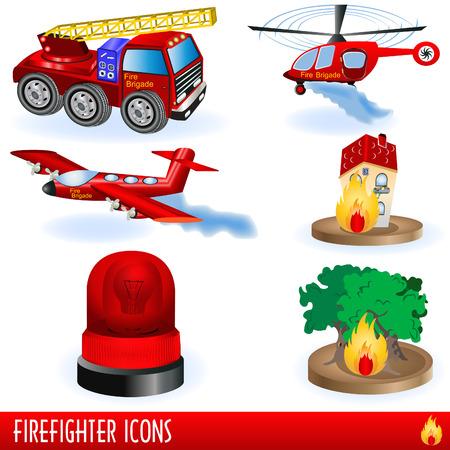 bosbrand: Brandweer man pictogrammen  Stock Illustratie
