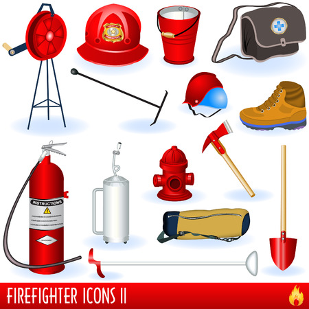 Firefighter icons part two Vector
