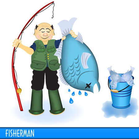 Fisherman with blue fish Vector