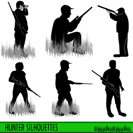 Four hunter silhouettes Stock Vector - 8307038