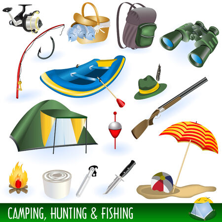 A collection of different illustrations : camping, hunting and fishing images. Illustration
