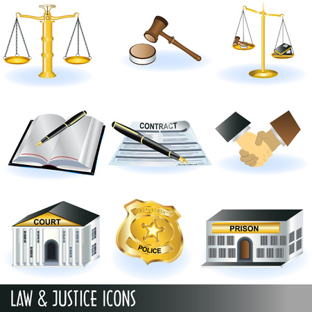 Law and justice icons Vector