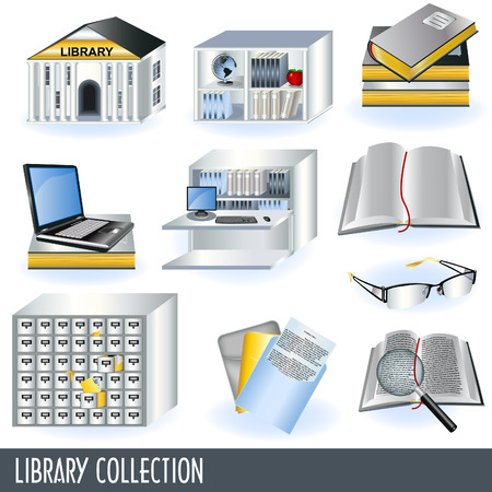 private school: Library collection Illustration