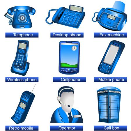 cable telefono: Colecci�n de iconos de tel�fono azul 9 aislado por separado sobre fondo blanco. -parte 1