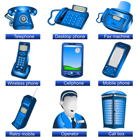 telephone operator: Collection of 9 blue phone icons isolated separately on white background. - part 1
