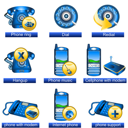 Collection of 9 blue phone icons isolated separately on white background. - part 2 Stock Vector - 8686475