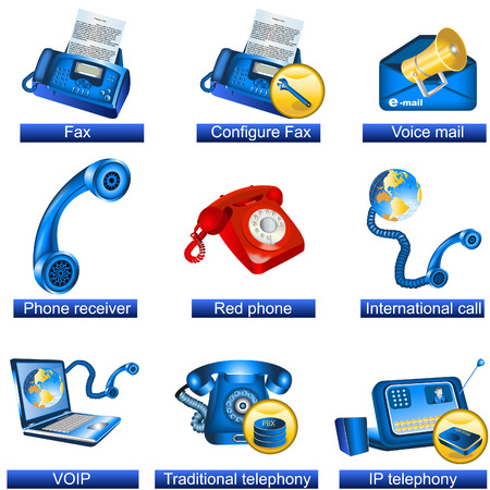 fax machine: Collection of 9 blue phone icons isolated separately on white background. - part 3